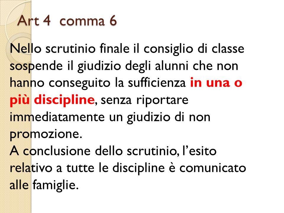 Art 4 comma 6 Nello scrutinio finale il consiglio di classe sospende il giudizio degli alunni che non hanno conseguito la sufficienza in una o più dis
