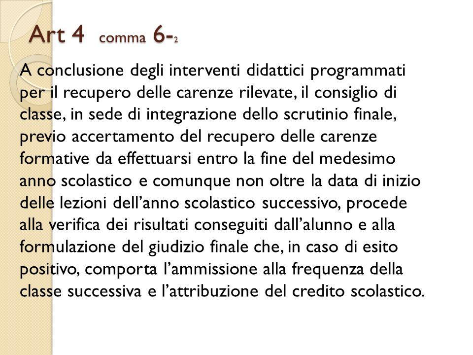 Art 4 comma 6- 2 A conclusione degli interventi didattici programmati per il recupero delle carenze rilevate, il consiglio di classe, in sede di integ