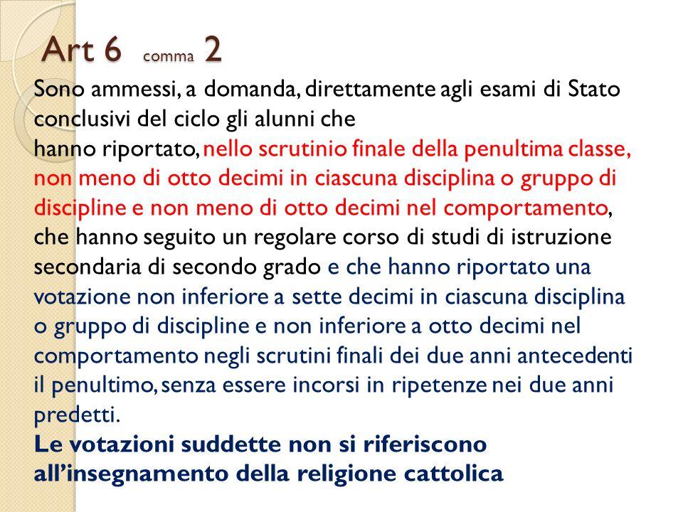 Art 6 comma 2 Sono ammessi, a domanda, direttamente agli esami di Stato conclusivi del ciclo gli alunni che hanno riportato, nello scrutinio finale de