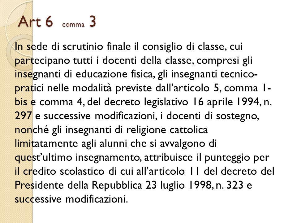 Art 6 comma 3 In sede di scrutinio finale il consiglio di classe, cui partecipano tutti i docenti della classe, compresi gli insegnanti di educazione