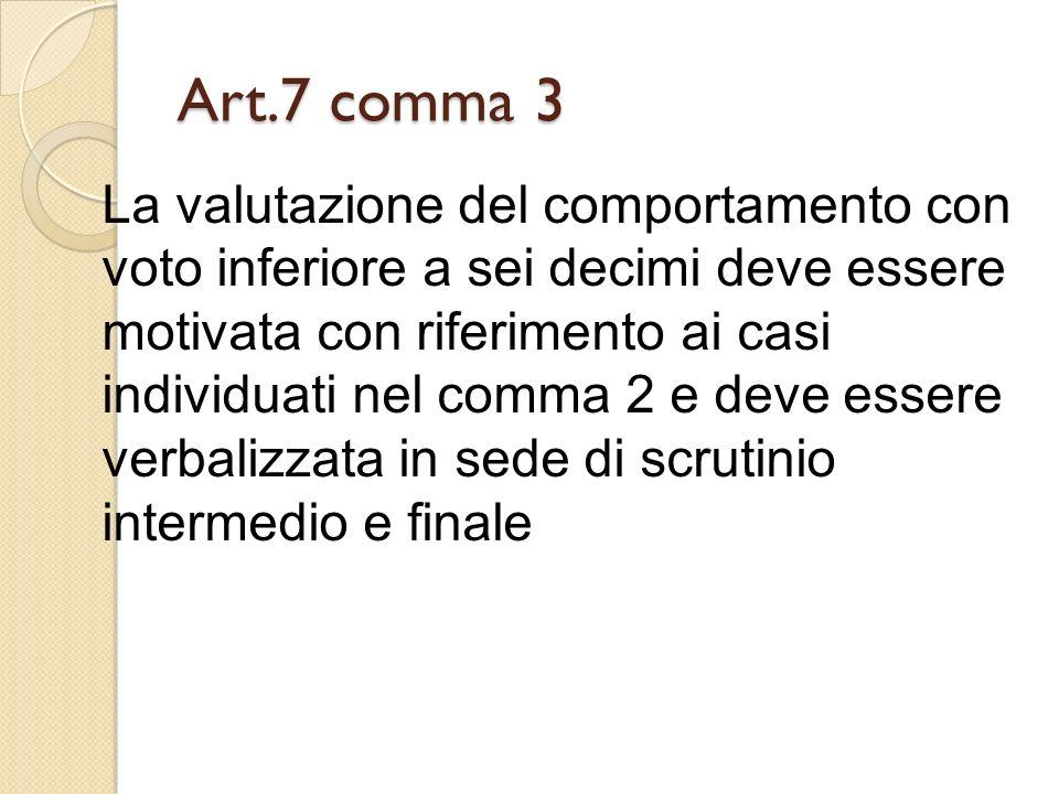 Art.7 comma 3 La valutazione del comportamento con voto inferiore a sei decimi deve essere motivata con riferimento ai casi individuati nel comma 2 e