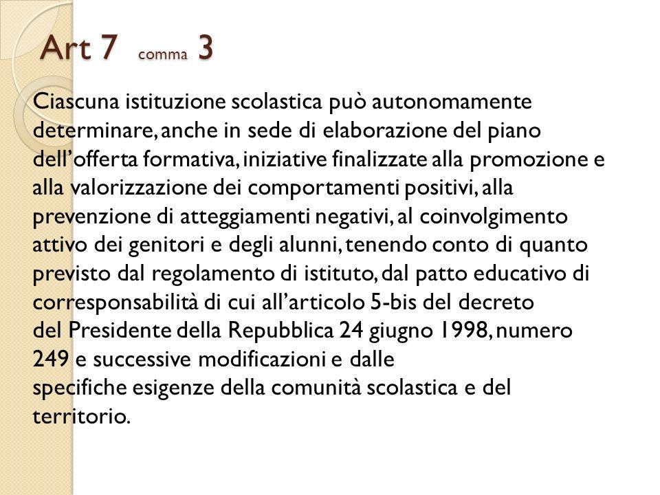 Art 7 comma 3 Ciascuna istituzione scolastica può autonomamente determinare, anche in sede di elaborazione del piano dellofferta formativa, iniziative