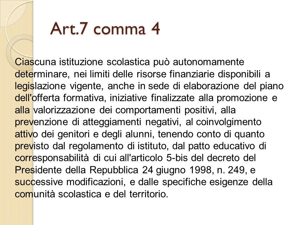 Art.7 comma 4 Ciascuna istituzione scolastica può autonomamente determinare, nei limiti delle risorse finanziarie disponibili a legislazione vigente,