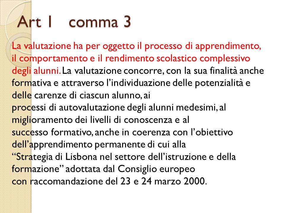 Art 1 comma 3 La valutazione ha per oggetto il processo di apprendimento, il comportamento e il rendimento scolastico complessivo degli alunni. La val