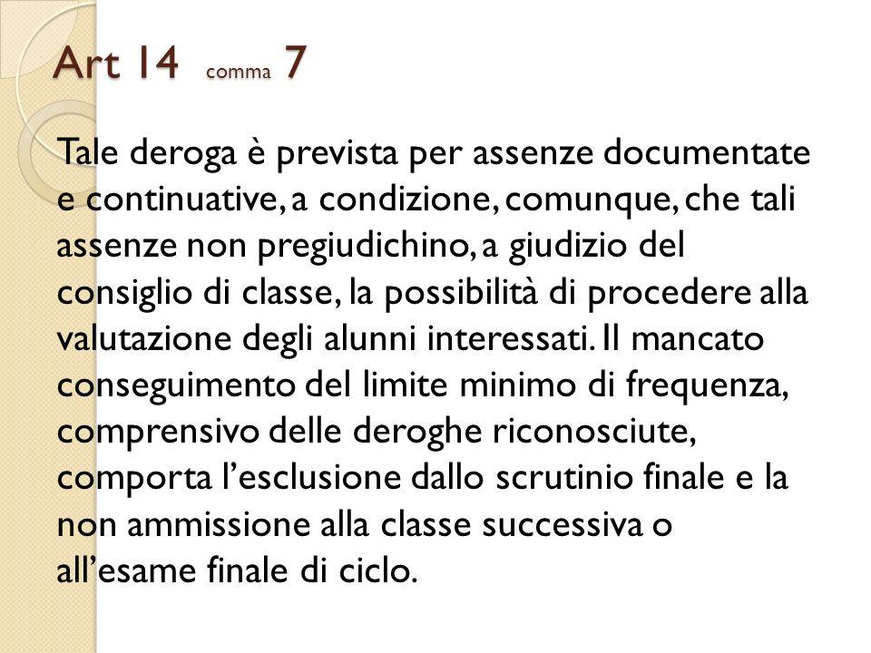 Art 14 comma 7 Tale deroga è prevista per assenze documentate e continuative, a condizione, comunque, che tali assenze non pregiudichino, a giudizio d