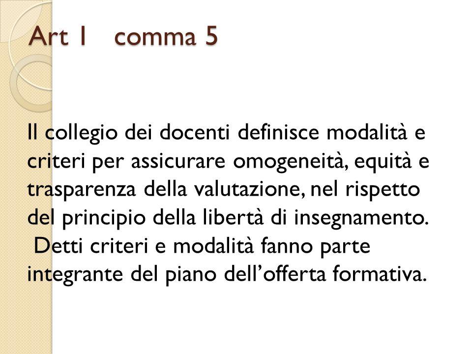 Art 1 comma 5 Il collegio dei docenti definisce modalità e criteri per assicurare omogeneità, equità e trasparenza della valutazione, nel rispetto del