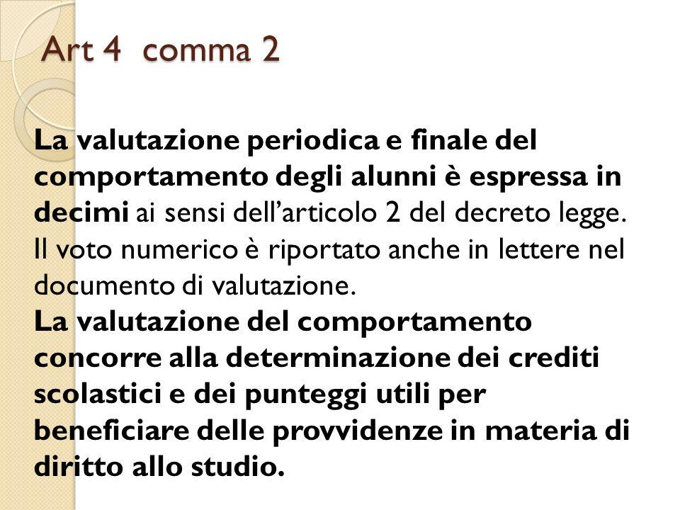 Art 4 comma 2 La valutazione periodica e finale del comportamento degli alunni è espressa in decimi ai sensi dellarticolo 2 del decreto legge. Il voto