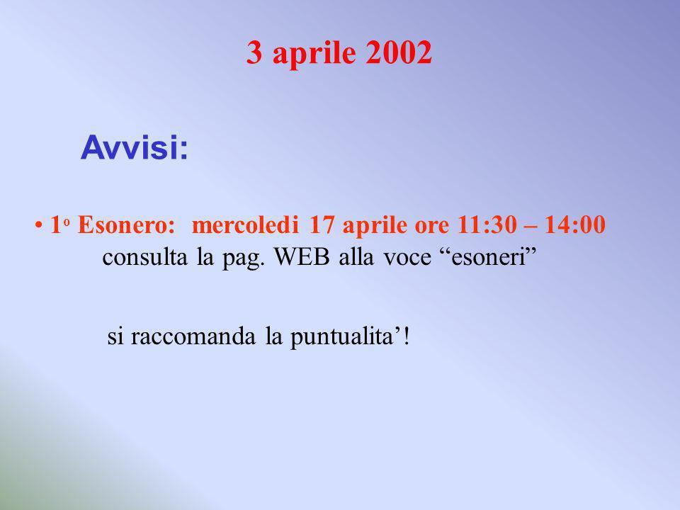 3 aprile 2002 Avvisi: 1 o Esonero: mercoledi 17 aprile ore 11:30 – 14:00 consulta la pag.