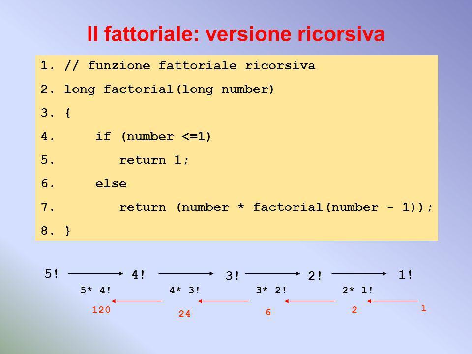 Il fattoriale: versione ricorsiva 1.// funzione fattoriale ricorsiva 2.long factorial(long number) 3.{ 4.