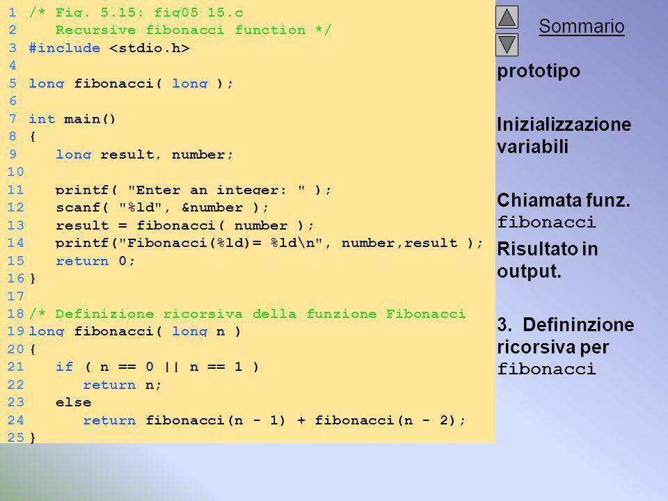 Sommario prototipo Inizializzazione variabili Chiamata funz.