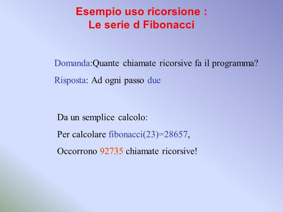 Esempio uso ricorsione : Le serie d Fibonacci Domanda:Quante chiamate ricorsive fa il programma.
