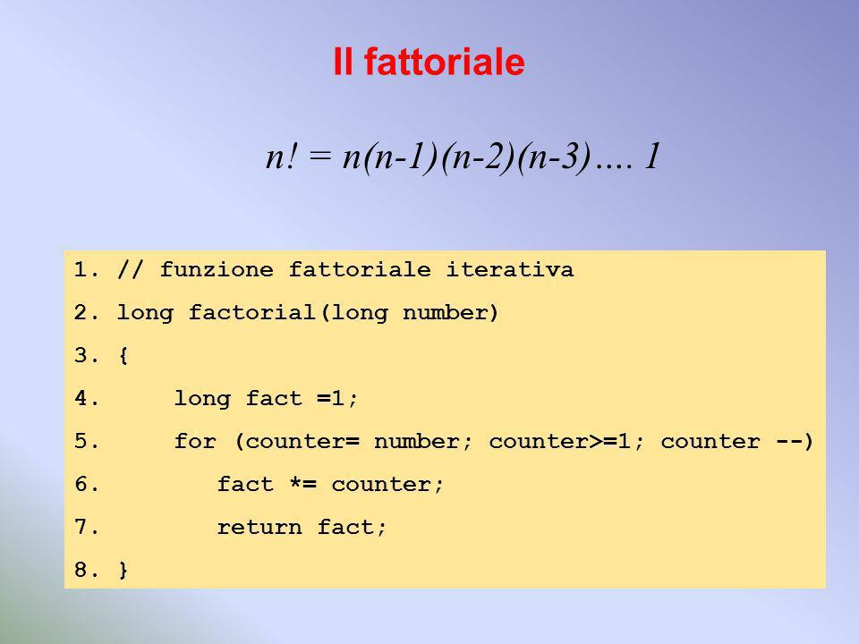 Il fattoriale n! = n(n-1)(n-2)(n-3)…. 1 1.// funzione fattoriale iterativa 2.long factorial(long number) 3.{ 4. long fact =1; 5. for (counter= number;