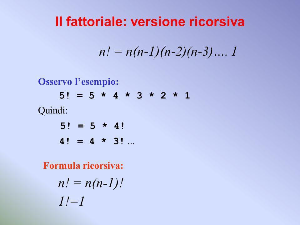 Il fattoriale: versione ricorsiva n.= n(n-1)(n-2)(n-3)….