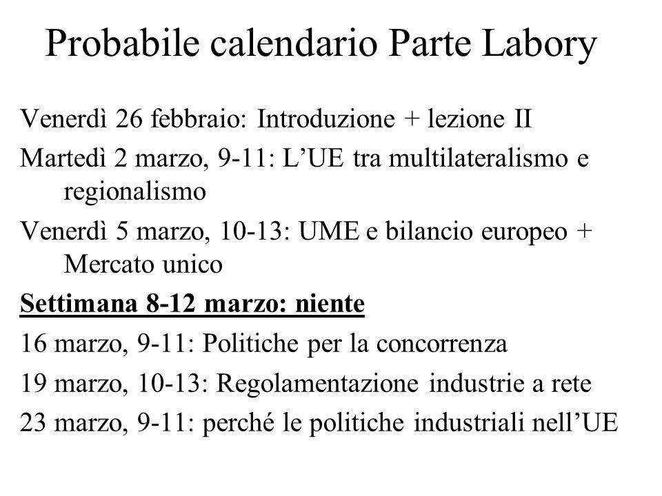 Probabile calendario Parte Labory Venerdì 26 febbraio: Introduzione + lezione II Martedì 2 marzo, 9-11: LUE tra multilateralismo e regionalismo Venerd