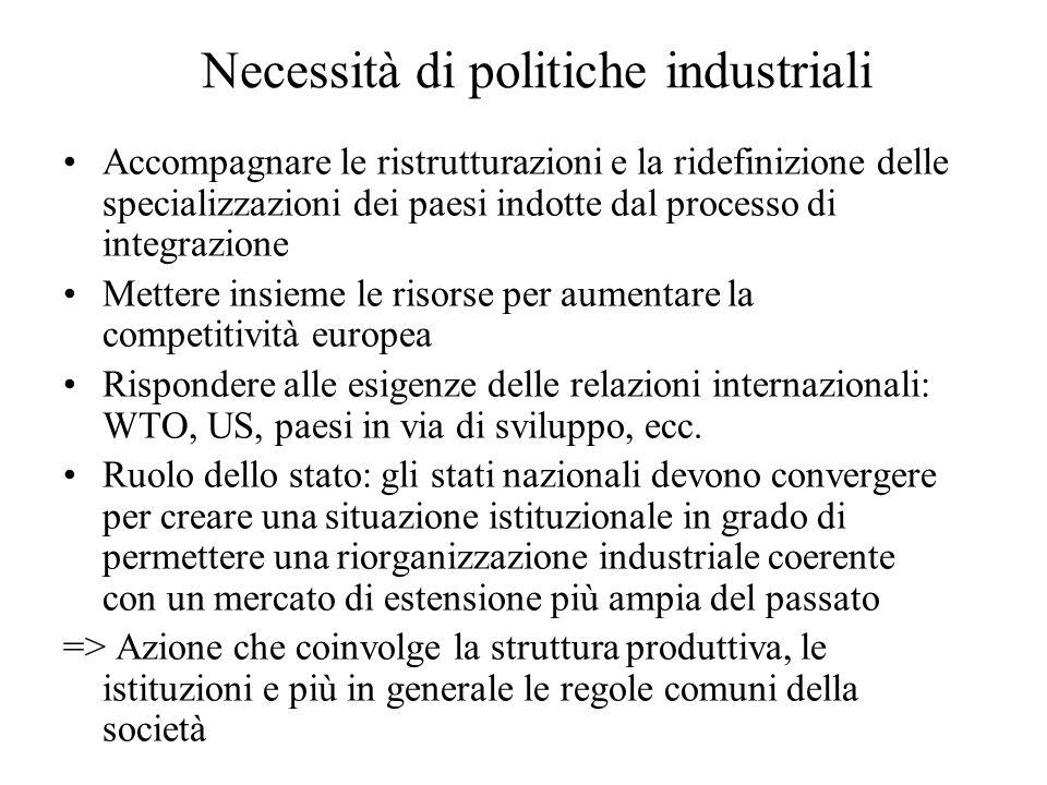 Necessità di politiche industriali Accompagnare le ristrutturazioni e la ridefinizione delle specializzazioni dei paesi indotte dal processo di integr