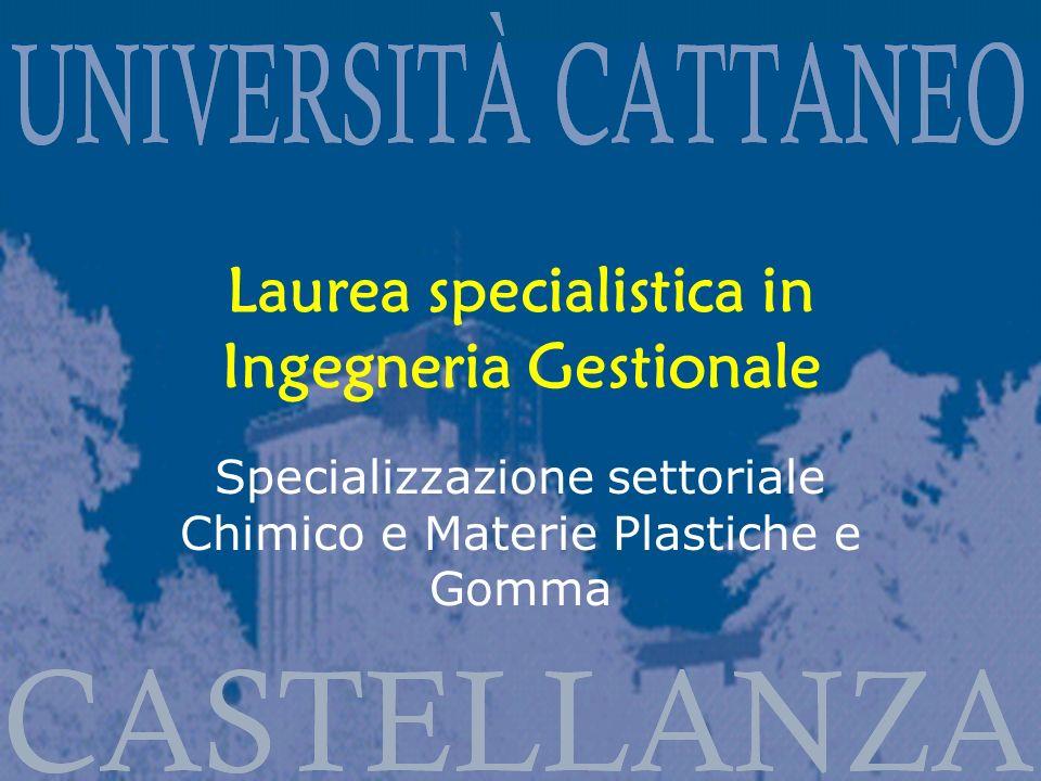 Laurea specialistica in Ingegneria Gestionale Specializzazione settoriale Chimico e Materie Plastiche e Gomma