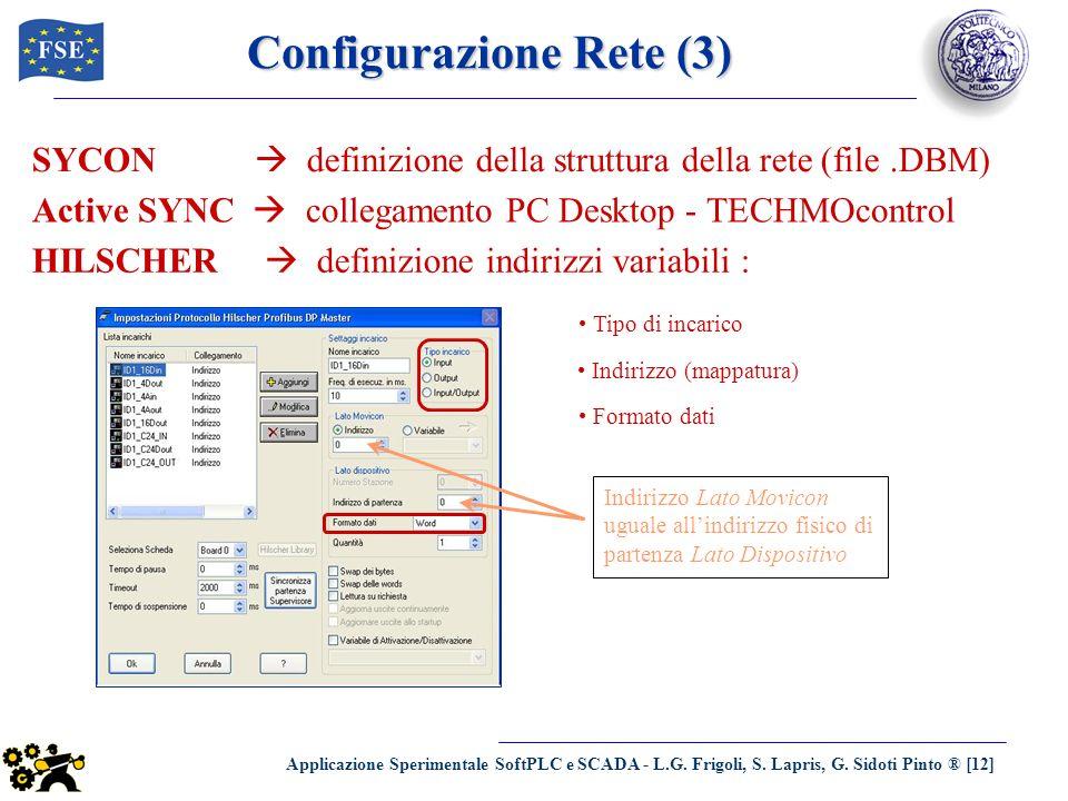 Applicazione Sperimentale SoftPLC e SCADA - L.G. Frigoli, S. Lapris, G. Sidoti Pinto ® [12] Configurazione Rete (3) SYCON definizione della struttura