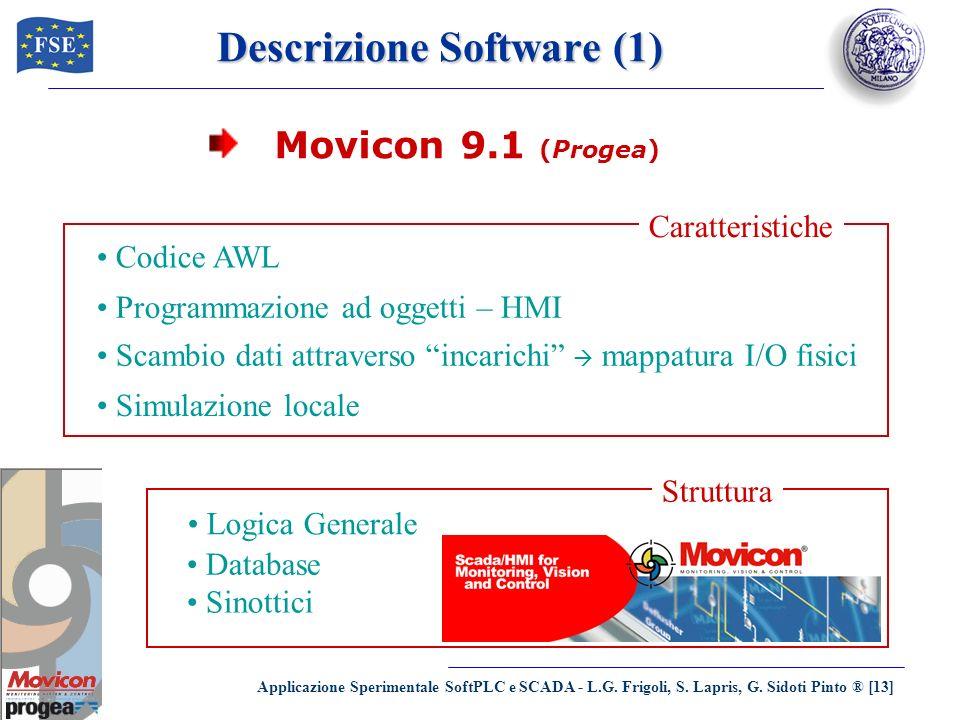 Applicazione Sperimentale SoftPLC e SCADA - L.G. Frigoli, S. Lapris, G. Sidoti Pinto ® [13] Descrizione Software (1) Movicon 9.1 (Progea) Codice AWL P
