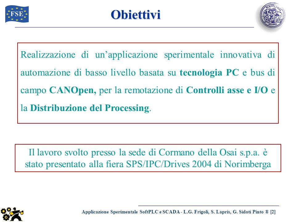 Applicazione Sperimentale SoftPLC e SCADA - L.G. Frigoli, S. Lapris, G. Sidoti Pinto ® [2] Obiettivi Realizzazione di unapplicazione sperimentale inno