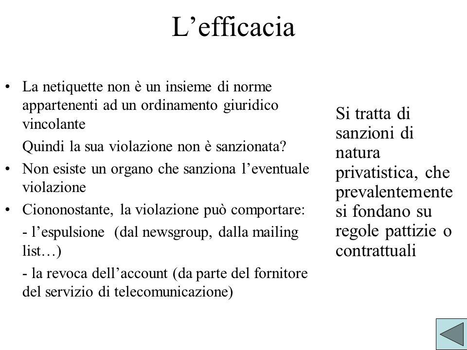 Lefficacia La netiquette non è un insieme di norme appartenenti ad un ordinamento giuridico vincolante Quindi la sua violazione non è sanzionata.