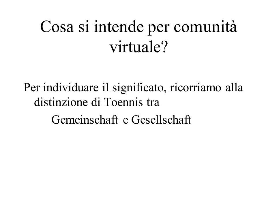 Cosa si intende per comunità virtuale.