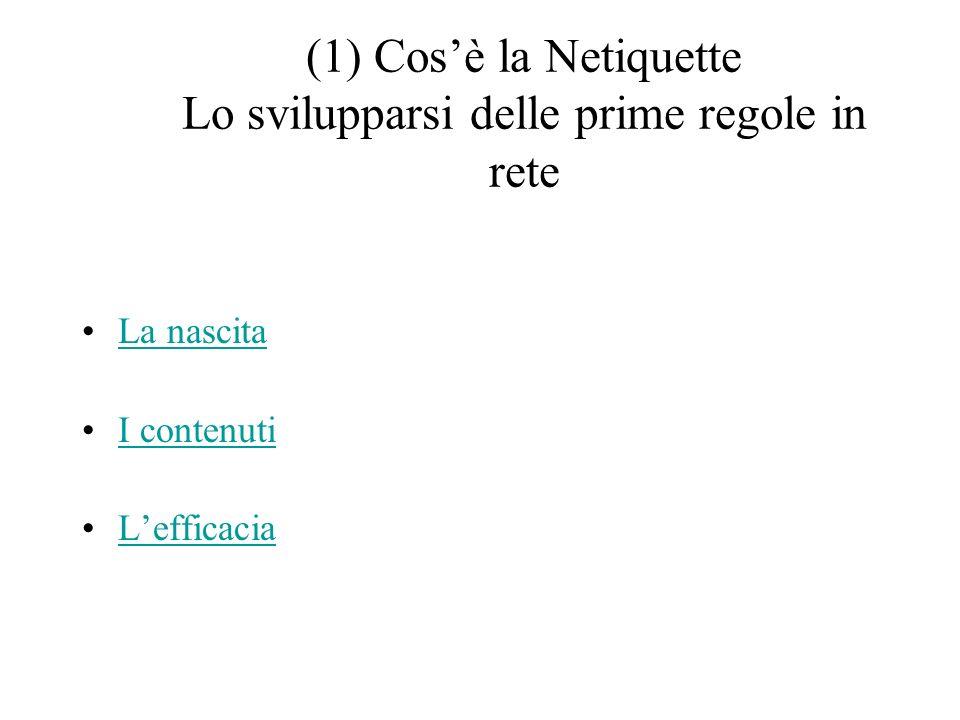 (1) Cosè la Netiquette Lo svilupparsi delle prime regole in rete La nascita I contenuti Lefficacia