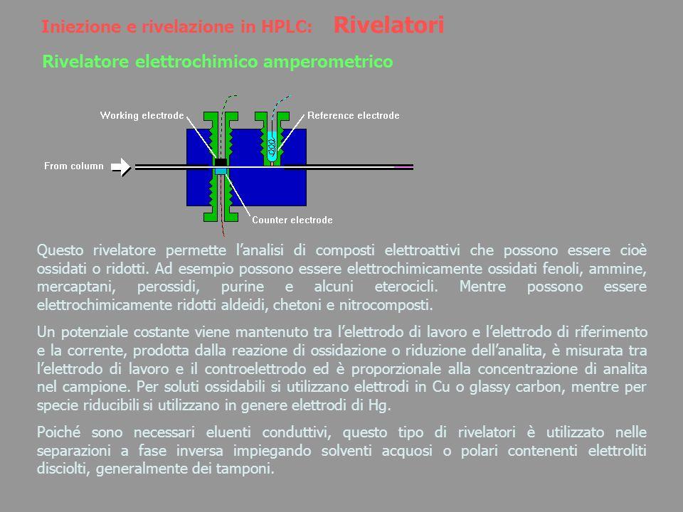 Iniezione e rivelazione in HPLC: Rivelatori Rivelatore elettrochimico amperometrico Questo rivelatore permette lanalisi di composti elettroattivi che