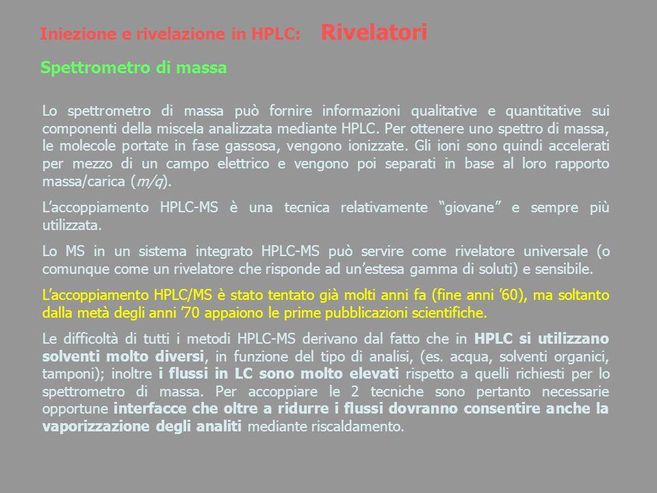 Iniezione e rivelazione in HPLC: Rivelatori Spettrometro di massa Lo spettrometro di massa può fornire informazioni qualitative e quantitative sui com