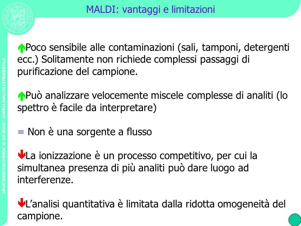 DIPARTIMENTO DI CHIMICA G. CIAMICIAN – CHIMICA ANALITICA STRUMENTALE MALDI: vantaggi e limitazioni Poco sensibile alle contaminazioni (sali, tamponi,