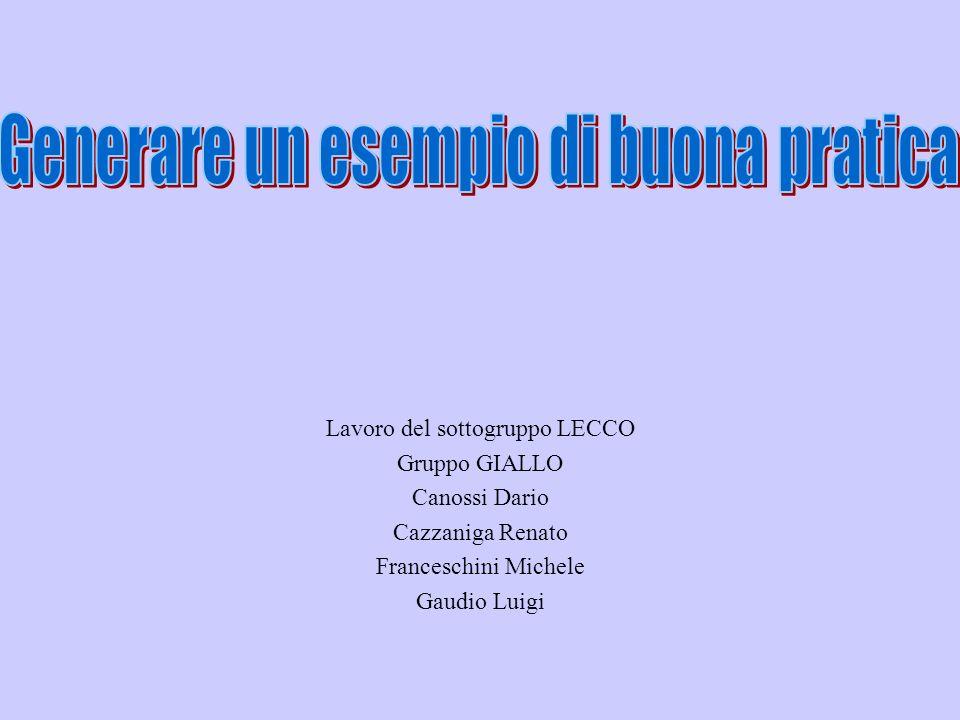 Lavoro del sottogruppo LECCO Gruppo GIALLO Canossi Dario Cazzaniga Renato Franceschini Michele Gaudio Luigi