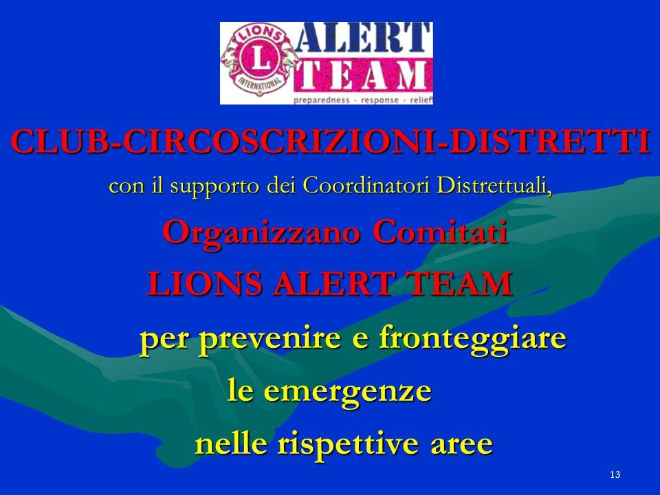 13 CLUB-CIRCOSCRIZIONI-DISTRETTI con il supporto dei Coordinatori Distrettuali, Organizzano Comitati Organizzano Comitati LIONS ALERT TEAM per preveni