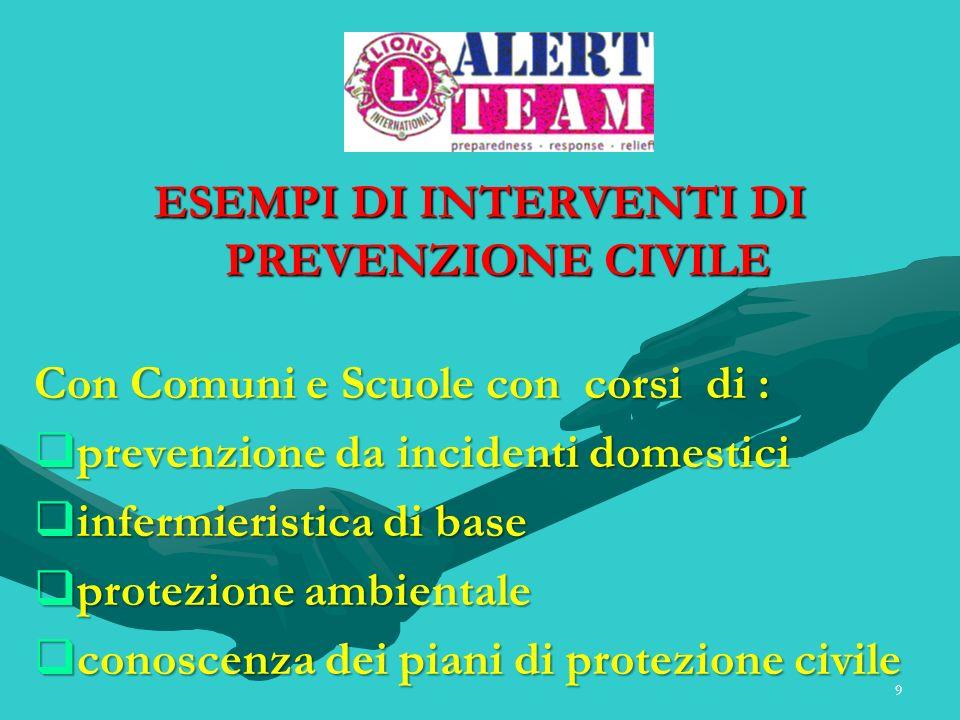 9 ESEMPI DI INTERVENTI DI PREVENZIONE CIVILE Con Comuni e Scuole con corsi di : prevenzione da incidenti domestici prevenzione da incidenti domestici