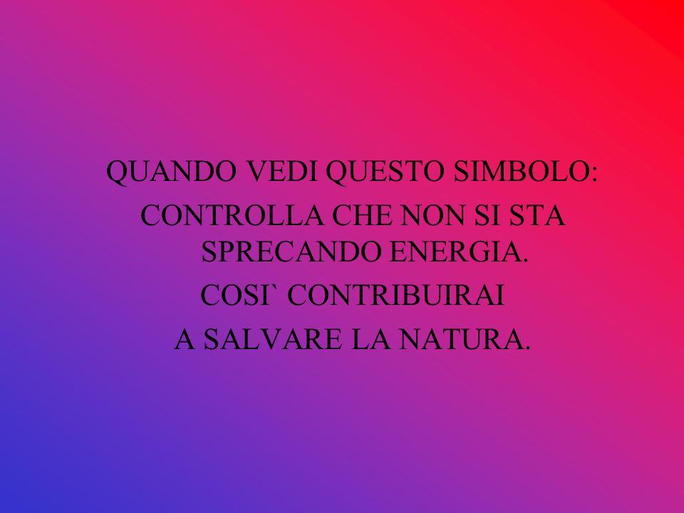 QUANDO VEDI QUESTO SIMBOLO: CONTROLLA CHE NON SI STA SPRECANDO ENERGIA. COSI` CONTRIBUIRAI A SALVARE LA NATURA.