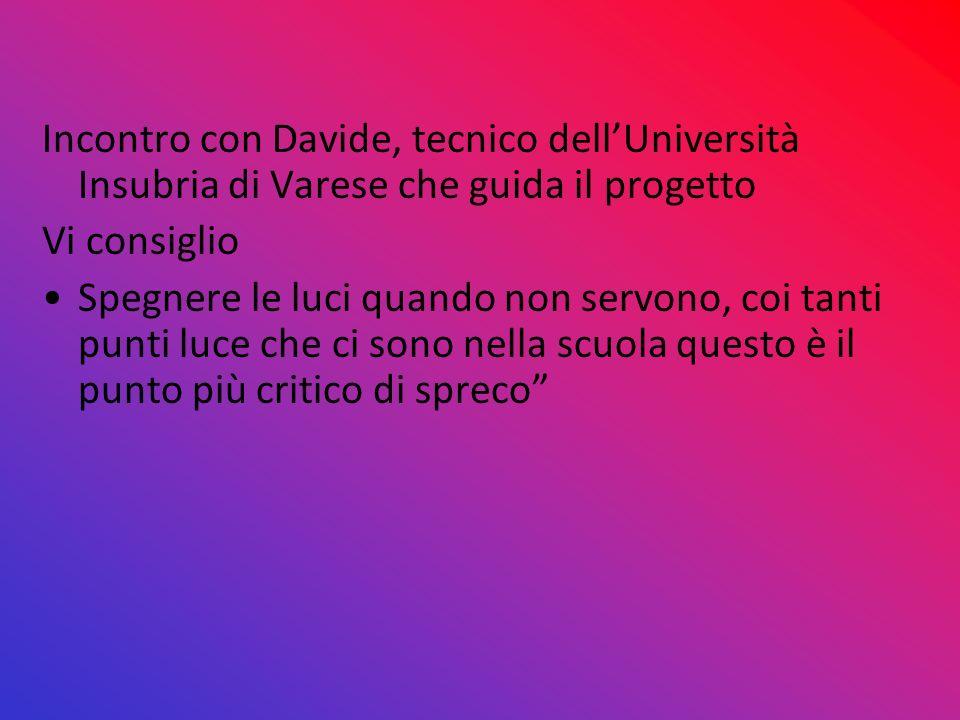 Incontro con Davide, tecnico dellUniversità Insubria di Varese che guida il progetto Vi consiglio Spegnere le luci quando non servono, coi tanti punti
