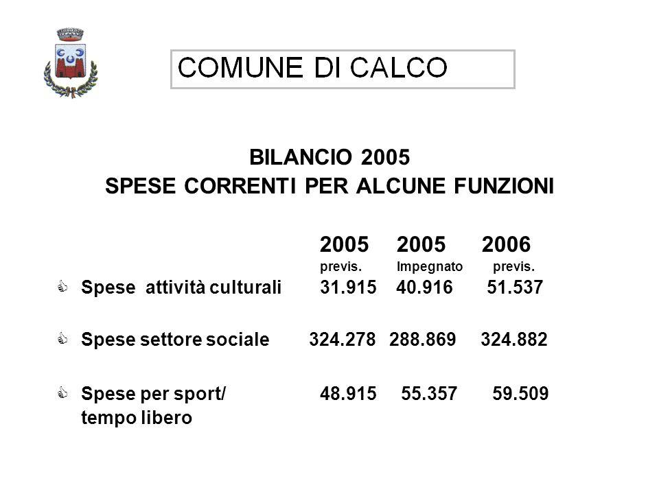 BILANCIO 2005 SPESE CORRENTI PER ALCUNE FUNZIONI 2005 2005 2006 previs.