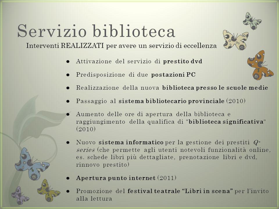 Servizio biblioteca Interventi REALIZZATI per avere un servizio di eccellenza