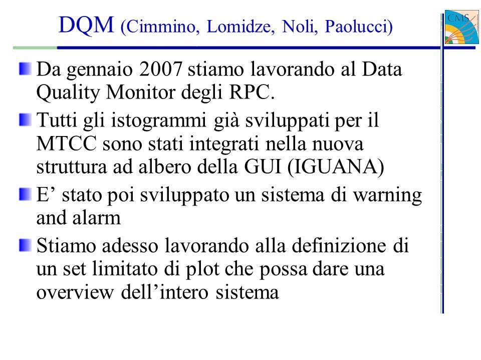 DQM (Cimmino, Lomidze, Noli, Paolucci) Da gennaio 2007 stiamo lavorando al Data Quality Monitor degli RPC.