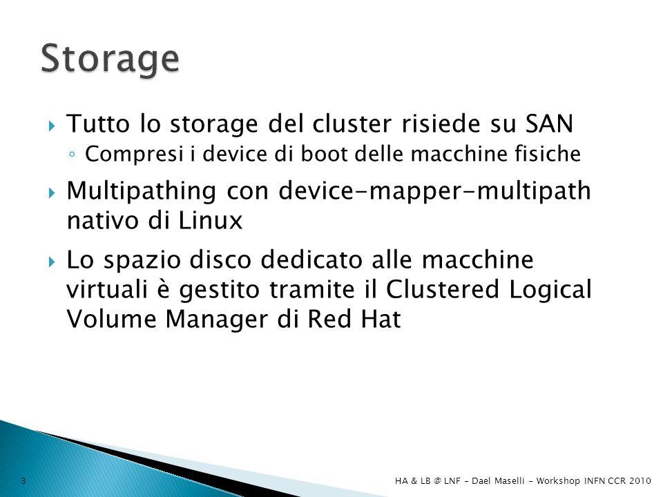 Tutto lo storage del cluster risiede su SAN Compresi i device di boot delle macchine fisiche Multipathing con device-mapper-multipath nativo di Linux