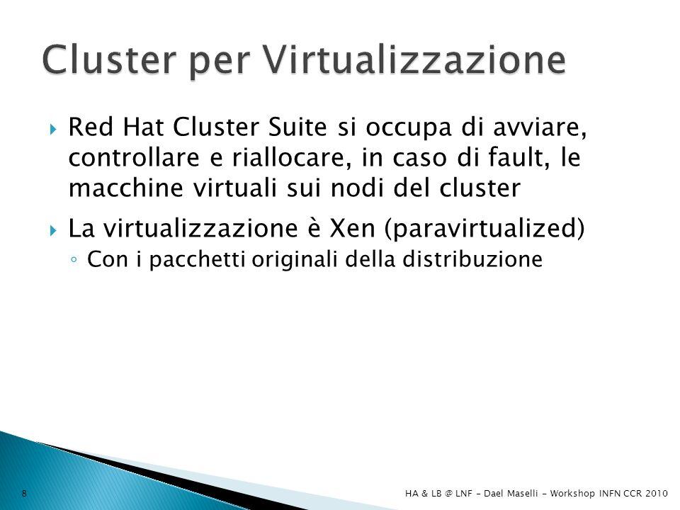 Red Hat Cluster Suite si occupa di avviare, controllare e riallocare, in caso di fault, le macchine virtuali sui nodi del cluster La virtualizzazione è Xen (paravirtualized) Con i pacchetti originali della distribuzione HA & LB @ LNF - Dael Maselli - Workshop INFN CCR 20108