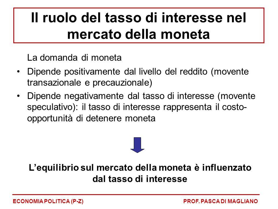 La domanda di moneta Dipende positivamente dal livello del reddito (movente transazionale e precauzionale) Dipende negativamente dal tasso di interesse (movente speculativo): il tasso di interesse rappresenta il costo- opportunità di detenere moneta Lequilibrio sul mercato della moneta è influenzato dal tasso di interesse ECONOMIA POLITICA (P-Z)PROF.