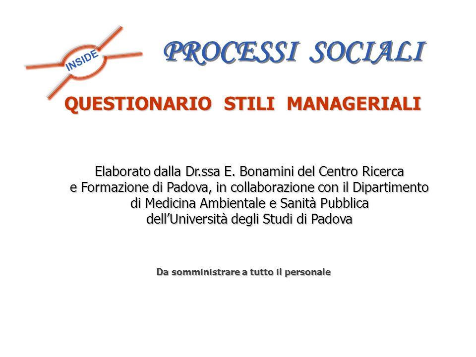 INSIDE QUESTIONARIO STILI MANAGERIALI Da somministrare a tutto il personale Elaborato dalla Dr.ssa E. Bonamini del Centro Ricerca e Formazione di Pado