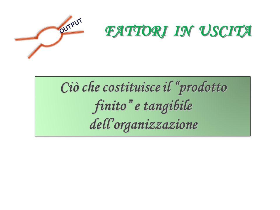 FATTORI IN USCITA OUTPUT Ciò che costituisce il prodotto finito e tangibile dellorganizzazione Ciò che costituisce il prodotto finito e tangibile dell