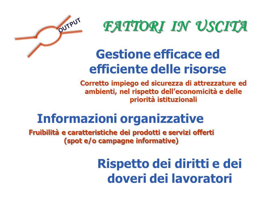 FATTORI IN USCITA OUTPUT Gestione efficace ed efficiente delle risorse Corretto impiego ed sicurezza di attrezzature ed ambienti, nel rispetto delleco