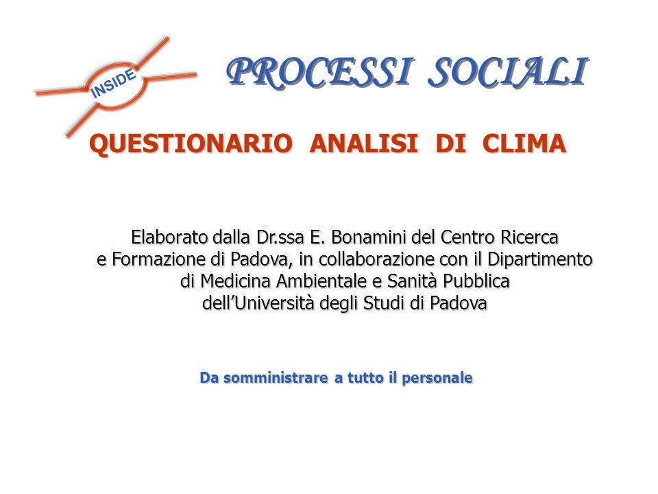 INSIDE QUESTIONARIO ANALISI DI CLIMA Da somministrare a tutto il personale Elaborato dalla Dr.ssa E. Bonamini del Centro Ricerca e Formazione di Padov