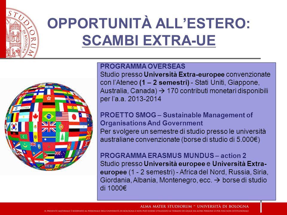 OPPORTUNITÀ ALLESTERO: SCAMBI EXTRA-UE PROGRAMMA OVERSEAS Studio presso Università Extra-europee convenzionate con lAteneo (1 – 2 semestri) - Stati Uniti, Giappone, Australia, Canada) 170 contributi monetari disponibili per la.a.