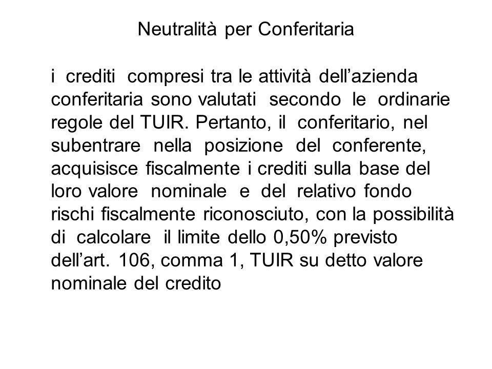 i crediti compresi tra le attività dellazienda conferitaria sono valutati secondo le ordinarie regole del TUIR. Pertanto, il conferitario, nel subentr