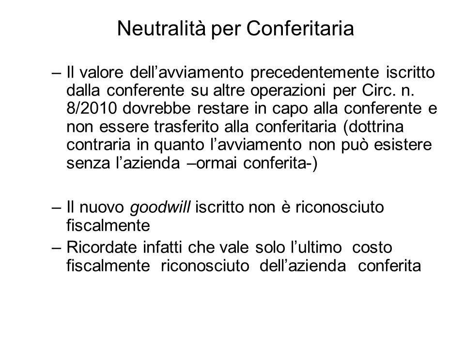 –Il valore dellavviamento precedentemente iscritto dalla conferente su altre operazioni per Circ. n. 8/2010 dovrebbe restare in capo alla conferente e