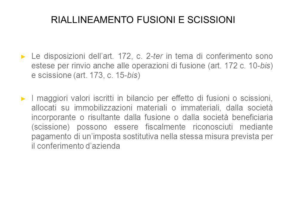 RIALLINEAMENTO FUSIONI E SCISSIONI Le disposizioni dellart. 172, c. 2-ter in tema di conferimento sono estese per rinvio anche alle operazioni di fusi