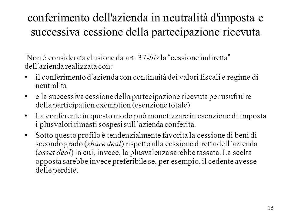 16 conferimento dell'azienda in neutralità d'imposta e successiva cessione della partecipazione ricevuta Non è considerata elusione da art. 37-bis la
