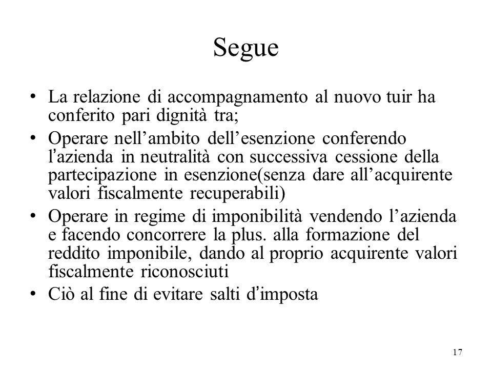 17 Segue La relazione di accompagnamento al nuovo tuir ha conferito pari dignità tra; Operare nellambito dellesenzione conferendo lazienda in neutrali